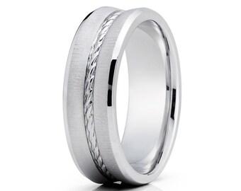 Braid Gold Wedding Band White Gold Wedding Ring Anniversary Band Men & Women Gold Wedding Ring Comfort Fit Brush Finish