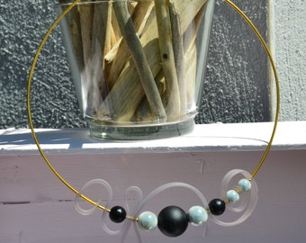 Choker necklace gold with black and gray beads and matte gray silicone strap