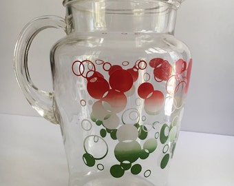 Vintage Iced Tea Beverage Gallon Pitcher Clear Glass Colored Bubbles