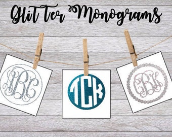 Monogram Glitter Decal - Monogram Sticker - Monogram Decals - Monogram Laptop Decal - Car Decal - Custom Cup Decal - Monogram Car Decal