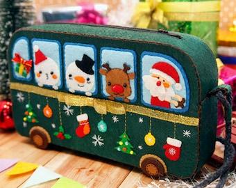 DIY Kit Christmas Bus Felt Crossbody Bag / Handbag