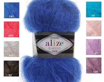 Alize MOHAIR CLASSIC new, blend mohair yarn, winter soft yarn, knotting yarn, crochet knit yarn, yarn for hat scarf, acrylic yarn, aran yarn