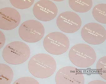 Rose Gold Wedding Stickers, Foil Wedding Stickers, Blush Personalised Favour Stickers, Wedding Favor Labels, Custom Wedding Stickers, 45mm