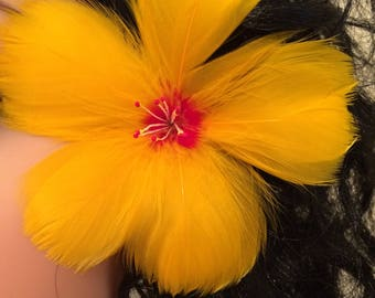 Common Yellow Hibiscus Feather Flower Ear Pick,Yellow Feather Flower Ear Pick,Updo Hair Pick,Wedding Jewels,Tropical Flower,Exotic Flower