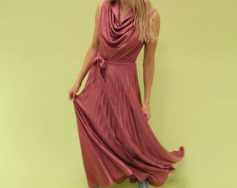 AMAZING handmade 70s vintage muted pink cowl neck maxi dress with gorgeous pleated skirt SIZE xs s
