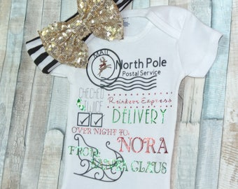 Christmas Onesie, North Pole Onesie, Newborn, Unisex Baby, Santa Claus, Personalized, Handmade