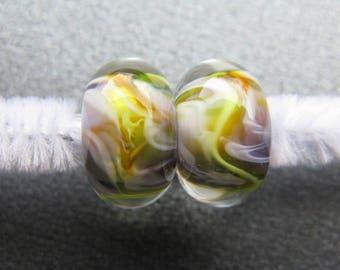 Lampwork Beads Pair, Handmade Lampwork Pair, Lampwork Pair, Yellow, Orange, Violet, Lime Green, White, Artisan Handmade Lampwork - HGD2115