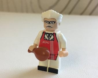 KFC - Colonel Sanders custom minifigure fits Lego - founder of Kentucky Fried Chicken