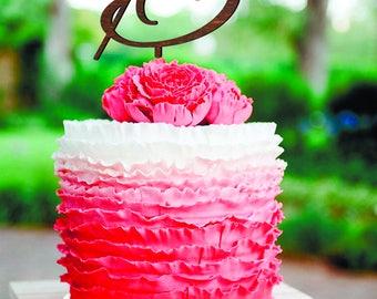 B letter wedding cake topper Silver monogram Wedding cake topper Initials cake toppers Letter A C V N T L M N K W R cake topper wooden cake