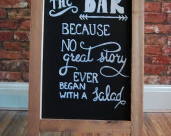 Bespoke Hand Drawn 'To The Bar' Chalkboard Wedding A-Frame Sign | For Wedding or Party | Wedding Signs