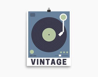 Vintage Record Player, Printable Art, Digital Art Print, Home Decor, Wall Art
