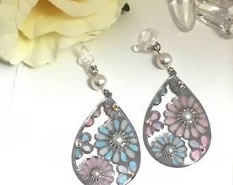 Stained glass earrings,teardrop earrings, clip on earrings, non pierced earrings,teardrop,cute,Japan