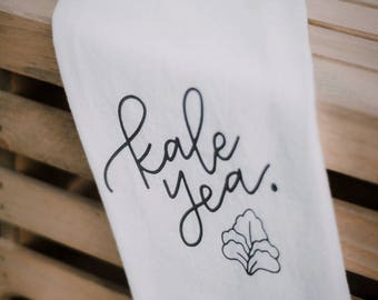 Kale Yea Tea Towel, Funny Tea Towel, Kitchen Puns, Kale Tea Towel, I love Kale, Handlettered Design, Funny Kitchen, Kale Yeah, Kale Saying