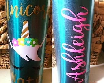 Unicorn Water/Coffee, customized vinyl water bottle