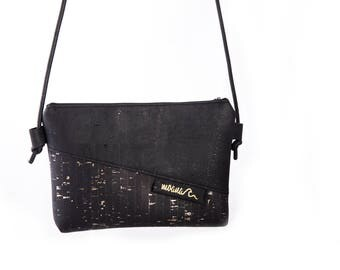Eco cork handbag - black & gold