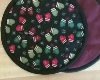 Mitten Potholders, Hot Pads, Mats, 8 inch, Round, Winter, Christmas