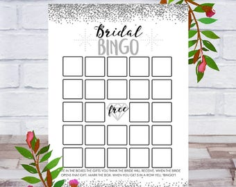 Bridal Bingo, Bridal Shower Games, Printable, Bachelorette Party, Cards, Size 5x7, Silver, Instant DIGITAL DOWNLOAD