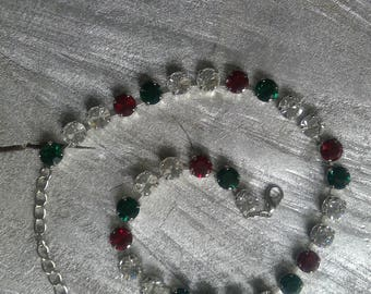 Red & Green Rhinestone Necklace