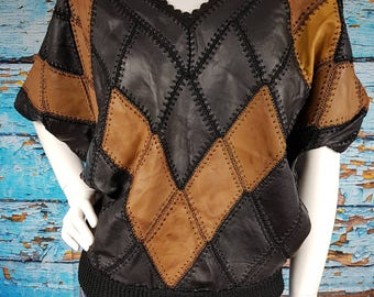 80s leather patchwork bat wing top.