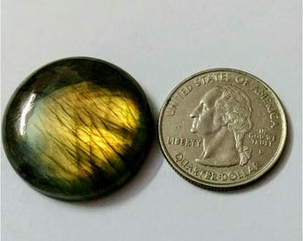 28.12mm,Round Shape Labradorite Cabochon/Golden flaseh/Attractiv Labradorite/wire wrap stone/pendent size Labradorite/ Labradorite Cabochon
