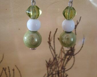 Earrings, green and white