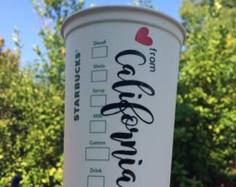 Love from California Personalized Starbucks Cups