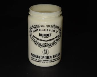 James Keiller Son Dundee Marmalade vintage milk glass jar, Orange Marmalade Jar, English/French Pkg for Nestle Ca., 12 oz.