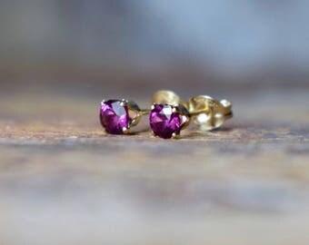 Garnet Studs Earrings, Rhodolite Garnet & 14k Gold Filled Earrings, 4mm Magenta Gemstone Earrings, Gold Fill Stud, Wife Gift, Purple Jewelry
