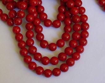 10 beads Red 10 mm mashan jade stone