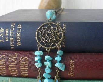 Dream catcher necklace,turquoise,necklace,turquoise dream catcher necklace,gemstone necklace,amulet,protection,boho jewellery,boho,bronze