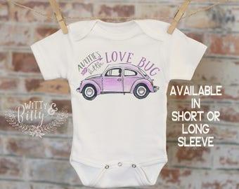 Auntie's Little Lovebug Onesie® in Purple, Funny Onesie, Cute Onesie, Aunt Onesie, Cute Baby Bodysuit, Boho Baby Onesie, Girl Onesie - 278A