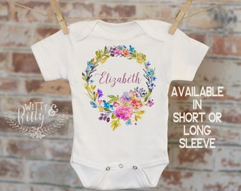 Bright Floral Wreath Baby Name Personalized Onesie®, Customized Onesie, Woodland Style Onesie, Boho Baby Onesie, Girl Name Onesie - 389E