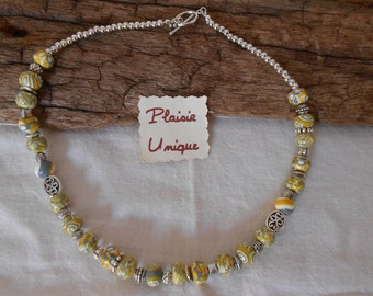 Yellow grey white necklace