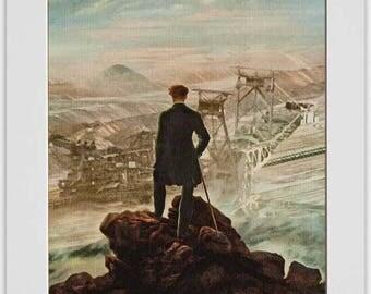 Hikers in the sea of fog over the mining art print, fine art print by Caspar David Friedrich