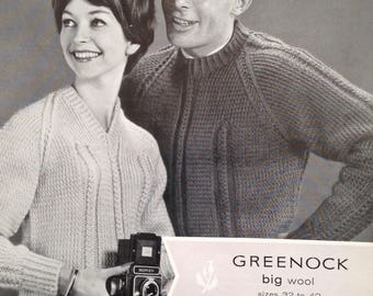 Vintage 1950s Greenock Pattern - His and Hers Wheat-Ear Stitch Sweaters