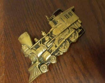 Vintage Brass Train Belt Buckle