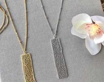 Gold Bar Necklace Gold Mesh Bar Necklace Vertical Gold Bar Necklace Long Silver Filigree Bar Necklace Minimalist Silver Long Gold Necklace