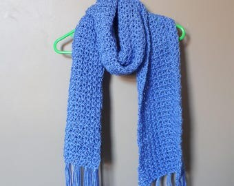 Crocheted Fringed Winter Scarf