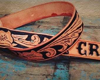 Custom Western Belt with Initials-Holiday-Gifts for Her-Christmas Idea-Stocking Stuffer-Birthday Gift for Her-Leather Anniversary-Handmade