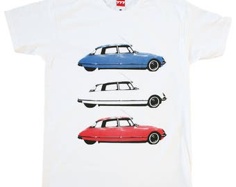 Citroen DS France tshirt vintage classic car white blue red