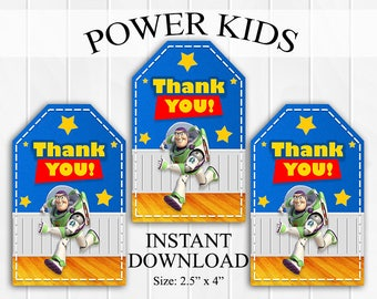 INSTANT DOWNLOAD Toy Story Buzz Lightyear Thank You Tags, Favor Tags, Party Favors, Printable DIY