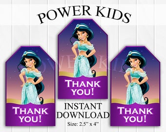 INSTANT DOWNLOAD Princess Jasmine Thank You Tags, Favor Tags, Party Favors, Printable DIY