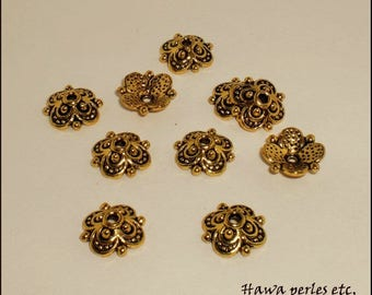"""10 cups Ice Caps """"Flower"""" 10 x 9.7 mm in Antique gold Metal"""