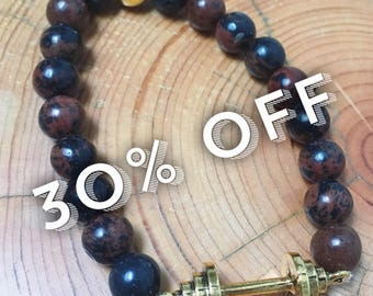 1RM Stretch in Mahogany Obsidian and lava beads