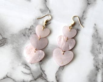 Cute Pink Heart Shaped Shell Earrings, String Beads Pink Dangle Earrings, Love Heart Drop Earrings, Women Gifts, Long Natural Gold Plated