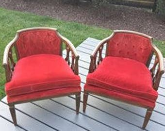 Hollywood Regency tufted back lattice velvet chairs.