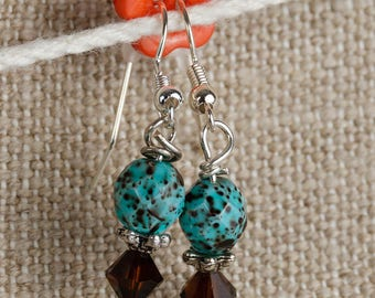 Dangling earrings Brown mottled turquoise bead and Brown top