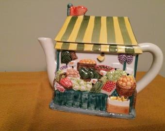 Decorative Ceramic Teapot-Fruit and Vegetable Market