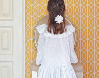 Girls Pajamas . Girls Floral Soft Blue Pajama . Girls Floral Soft Blue Sleepwear . Girls Pajama Party . Girls Cotton Pajama . Girls Cotton