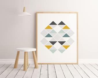 Lamina rombos, Lamina decorativa, Cuadros modernos, laminas nordicas, Impresión digital. Wall Art. Print Art.